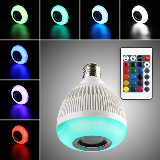 Wireless Bluetooth Speaker RGB Color LED Light Bulb Remote Control LED Lamp  Built In Speaker