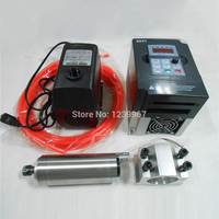 300w CNC Spindle Kit 0.3KW 60000rpm Water cooled Spindle Motor GDZ48 300 +1500W VFD Inverter + 48mm Bracket + Cooling Pump/Pipe