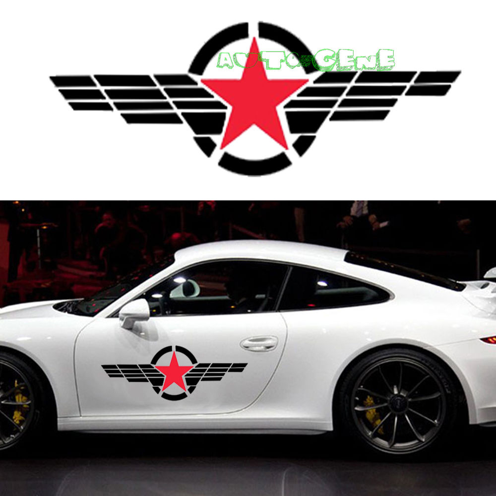 Car sticker design black - 2 Large Military Symbol Red Star Black Stripe Windshield Vinyl Car Sticker Decal China