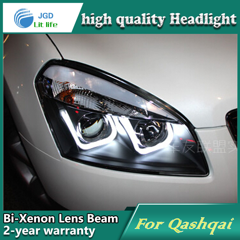 Car Styling Head Lamp case for Nissan Qashqai 2008-13 Headlights LED Headlight DRL Lens Double Beam Bi-Xenon HID car Accessories akd car styling for nissan teana led headlights 2008 2012 altima led headlight led drl bi xenon lens high low beam parking