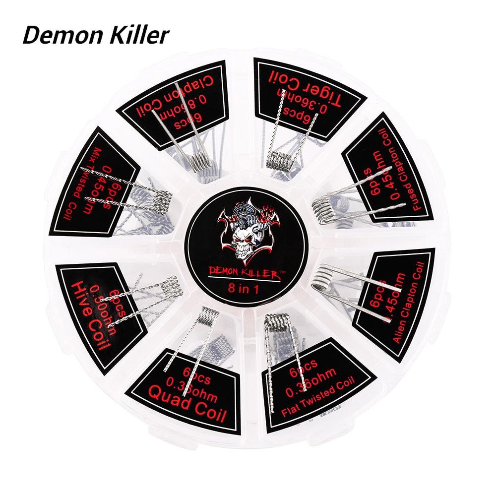 Originale 48 pz Demone Killer 8 In 1 Bobina Kit con Alveare/Quad/Tigre/Clapton/Mix Twisted/Flat Torto/Fuso/Alien Bobina E-cig Core