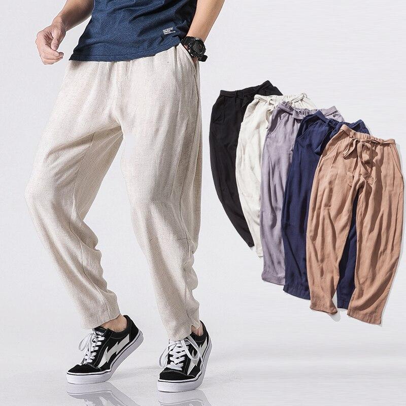 3XL 4XL 5XL grande taille lâche Harem pantalon 2018 mode Style japonais mince coton lin taille élastique pantalon 5 couleurs