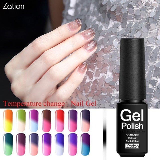 Zation Nail Art Design Gel Lacquer Nail Gel Polish Hot Cold Changing ...