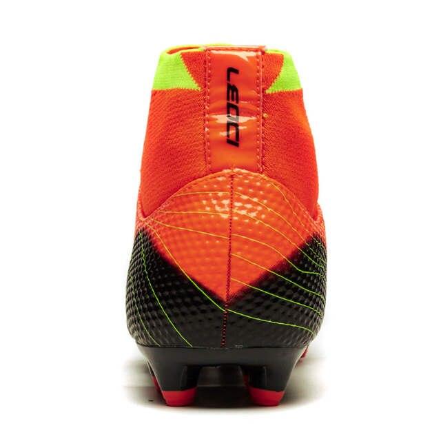cbc6f72bdf79 Mens Leoci Soccer Shoes Fg Football Boots Bright Mango Metallic Silver  Hyper Turquoise High Ankle Diamonds
