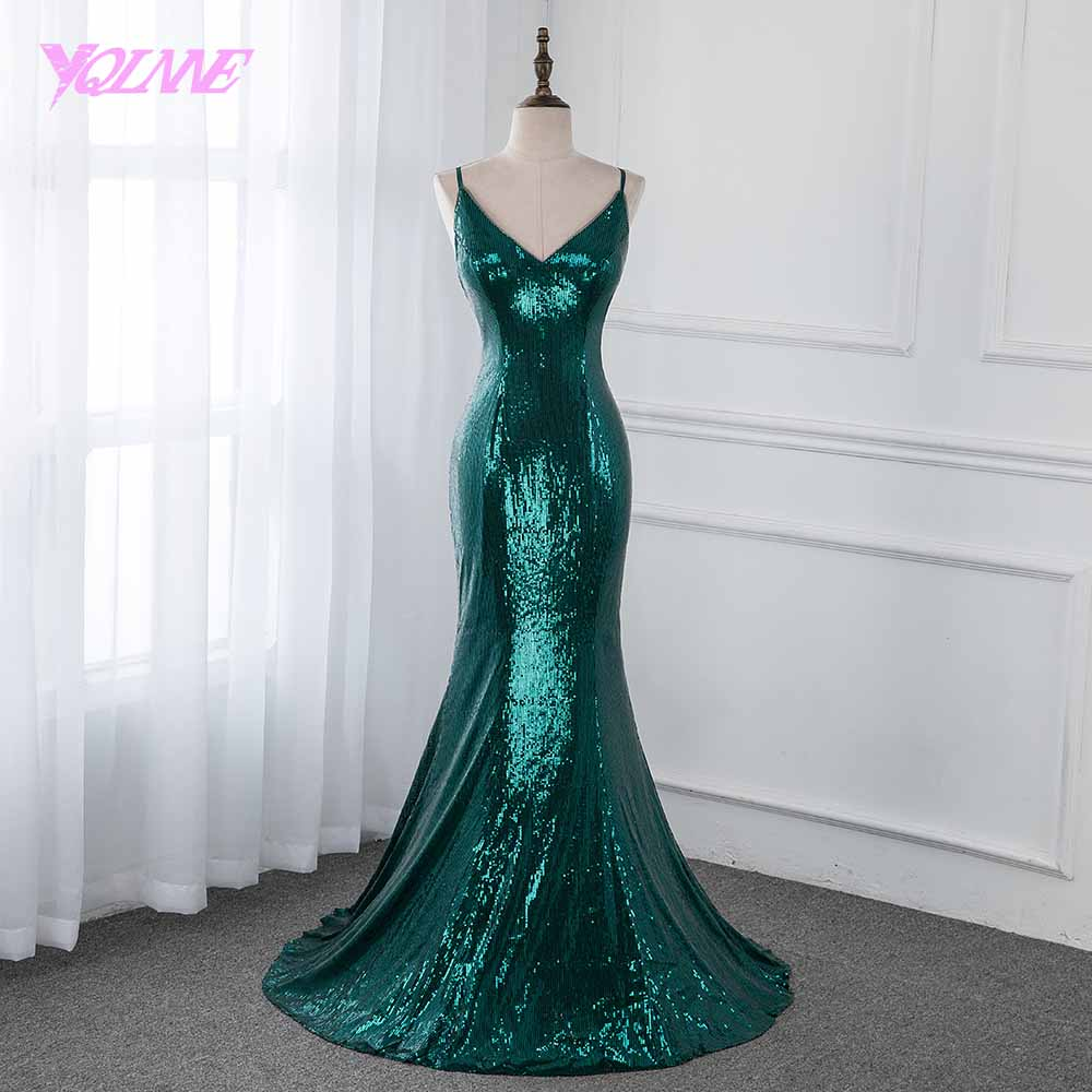YQLNNE New Collection 2019 Emerald Green Sequins Prom Dresses Long Formal Evening Gown Dress Sleeveless YQLNNE