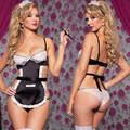 New Sexy Impertinente Maid Princesa Serviço de Limpeza Conjunto de Lingerie Uniforme Fantasia Vestido Traje Headwear + Bra + G-string Lingerie Sexy