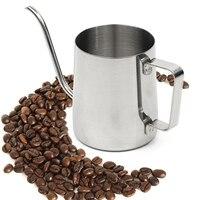Behogar 250 ml 8.45 oz 핸드 헬드 스테인레스 스틸 롱 좁은 주둥이 커피 구즈넥 주전자 바리 스타 카푸치노 에스프레소 만들기|커피 스텐실|   -