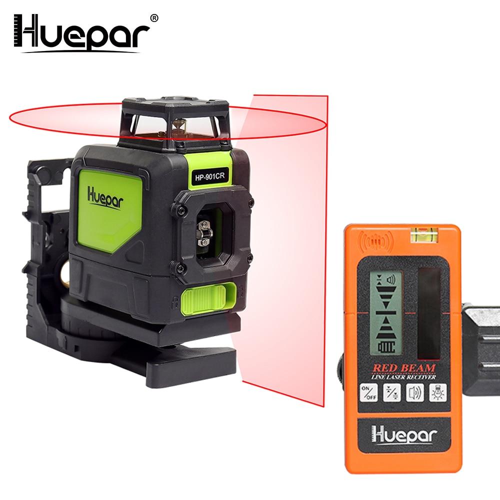 Huepar 3D Red 5 Lines Laser Level Cross Line 1 360 Rotary 1 Vertical Self leveling