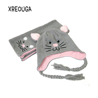 Winter Warm Baby Girls Hat Scarf Set Cute Knitted High Quality Cotton Hats for Toddlers Cartoon Cat Hats For 1 to 5 Years HTM01