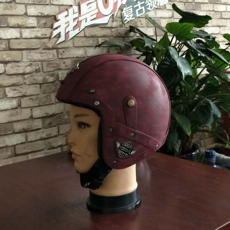 2018 New Synthetic Leather Motorcycle Helmet Retro Vintage Cruiser Chopper Scooter Cafe Racer Moto Helmet 3/4 Open Face Helmet