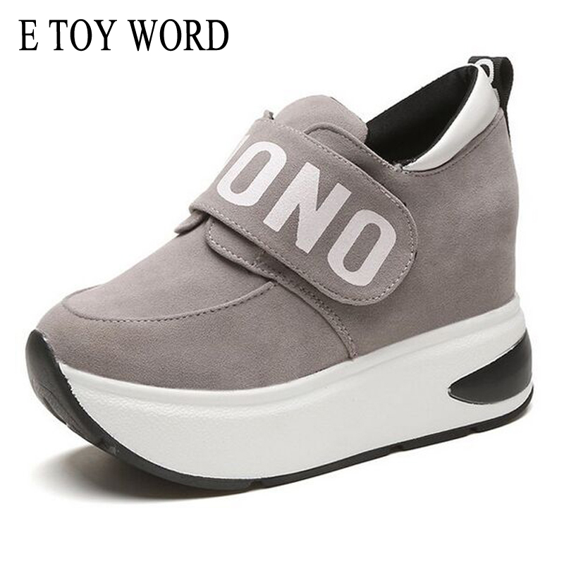 E TOY WORD Autumn Platform Sneakers Heigh Increasing Casual Women Shoes Round Toe Flats Zapatillas Mujer Size 35-40 e toy word canvas shoes women han edition 2017 spring cowboy increased thick soles casual shoes female side zip jeans blue 35 40