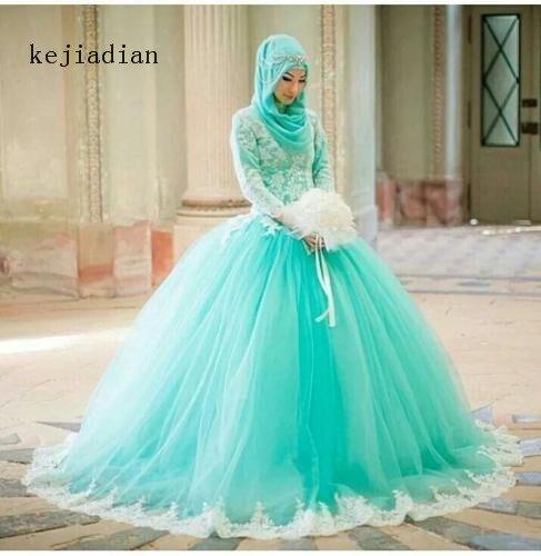 Us 143 65 15 Off Muslim Elegan Renda Lengan Panjang Pernikahan Dresses Mint Hijau Pengantin Gaun Bola Gaun Pengantin Vestido De Noiva Di Wedding