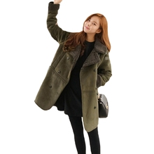 2017  Woman Winter Coats And Jackets Suede Lamb Wool Engine Coat  Large Code Xl-5xl Tailored Collar  Winter Parka Women