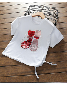 change color Big girl Fashion Style cat Sequins Girls T-shirts 2018 Cotton Summer Children Girl white Tshirt  For Kids Clothes girl