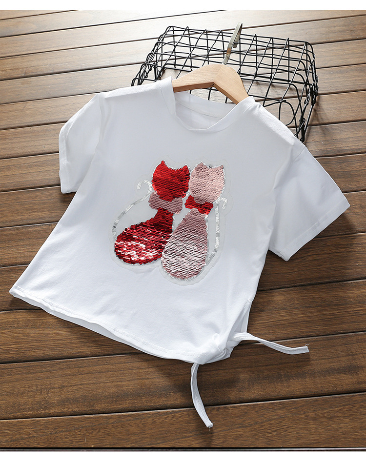 change color Big girl Fashion Style cat Sequins Girls T-shirts 2018 Cotton Summer Children Girl white Tshirt For Kids Clothes ...