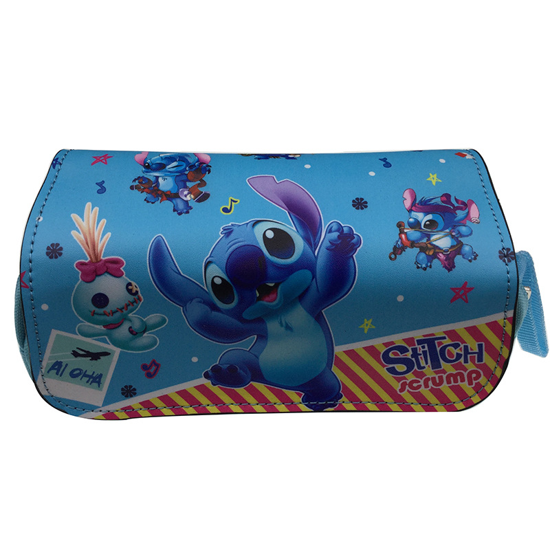 Cool Blue STITCH Anime Cosmetics Bags PU Zipper School Pencil Case Storage Pen Bag Large Capacity Pouch Stationery New