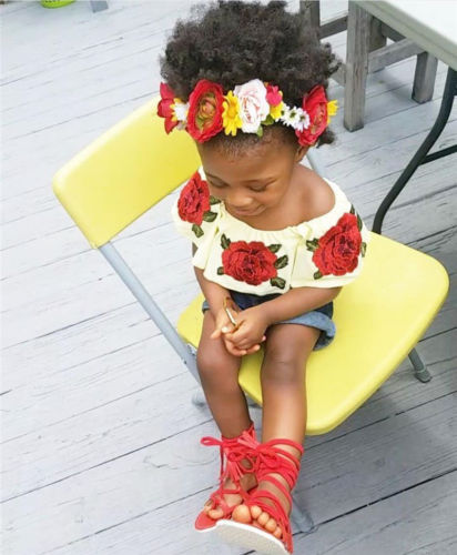 ba41632aab637 2017 enfant en bas âge fille vêtements d été ensemble 3D Floral Rose Top +  Jeans Shorts enfants vêtements filles chemise pantalon costume enfants  vêtements ...