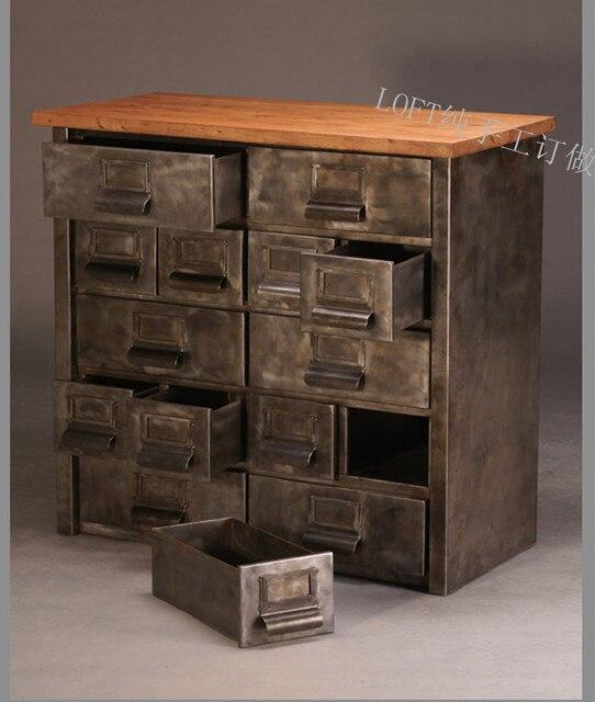 American Village Vintage Industrial Loft Cupboard Tiegui Corner Cabinets ,  Wrought Iron Cabinet Drawers Side Cabinet