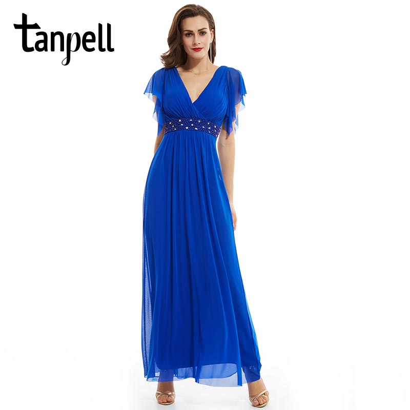 Tanpell V Neck Long Evening Dress Dark Royal Blue A Line Ankle Length Dress Women Cap Sleeves Beaded Chiffon Formal Evening Gown