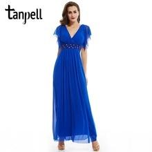 Tanpell v neck long evening dress dark royal blue a line ankle length dress women cap sleeves beaded chiffon formal evening gown