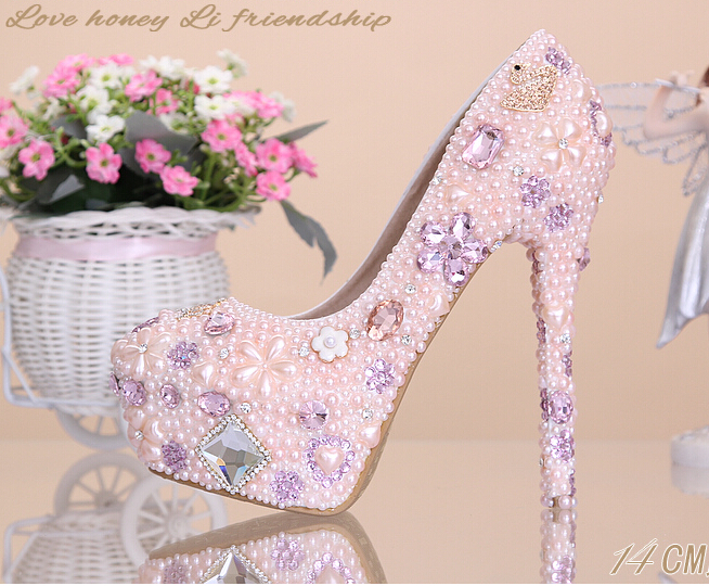 2016 wedding shoes pink flower pearl rhinestone shoes banquet Bridal high heeled platform princess single font
