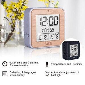 Image 2 - Fanju digital despertador led dcf rádio duplo alarme automático backlight eletrônico temperatura umidade mesa de tempo presente escritório