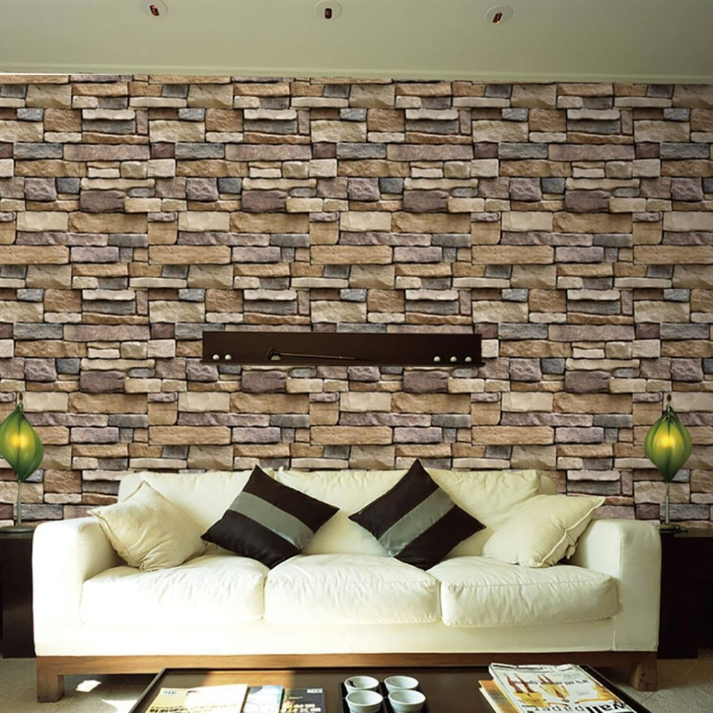 3D Stone Brick Wallpaper Removable PVC Wall Sticker Home Decor Art Wall Paper for Bedroom Living Room Background Decal image
