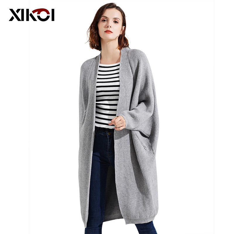 Fashion Woman Sweaters V-Neck Long Lady Knitted Cardigans Pocket Batwing Sleeve Solid Women Open Stitch Sweater Clothing Coat