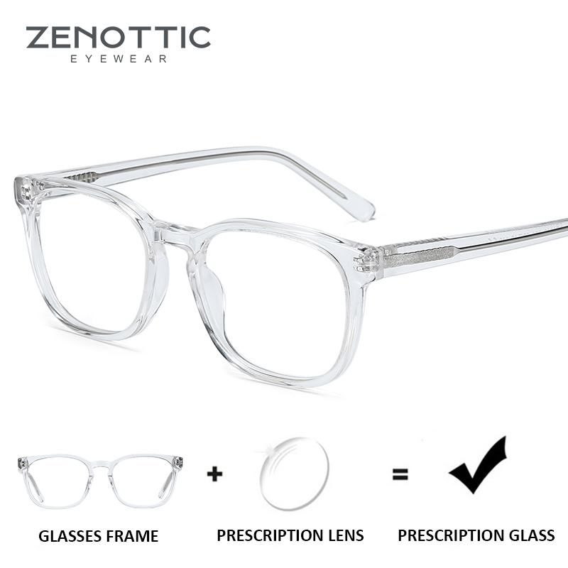 ZENOTTIC Transparent Acetate Prescription Glasses Women Anti-Blue-Ray Optical Eye Glasses Men Square Myopia Clear Eyeglasses New