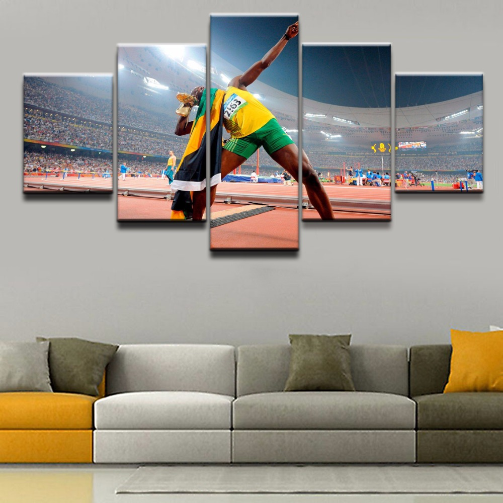 Canvas Wall Art Printed Poster Modular Pictures Home Decoration Painting For Living Room 5 Panel Sports Usain Bolt Framework