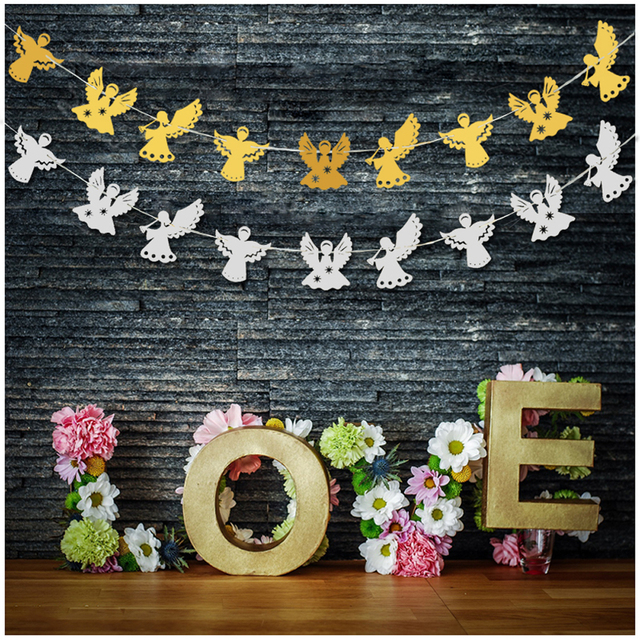 9pcs Diy Lovely Paper Angel Garland For Wedding Decor Banner
