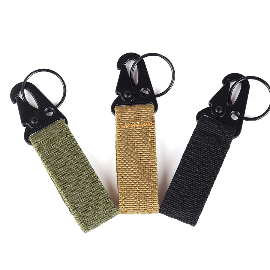 Outdoor Tactical Nylon Webbing Hang Buckle Army Fan Belt Multi-function Carabiner Eagle Mouth Hook Molle Hook