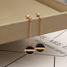 Модные ювелирные изделия черные круглые серьги гвоздики из титановой