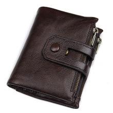 Vintage Wallet Men Genuine Leather Coin Purse Zipper&Hasp Men Wallets Small Pocket Driver License Card Holder Carteira Hombre