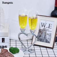 1 Set Personalized Toasting Glasses Wedding Heart Champagne Glasses Customized Creative Crystal Drinking Straight Red Wine