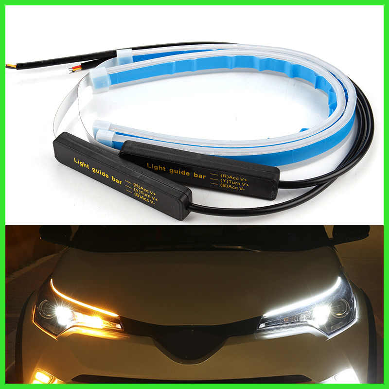 2x Ultrafine Cars DRL LED Daytime Running Lights White Turn Signal Yellow Guide Strip for Headlight Assembly Drop Shipping