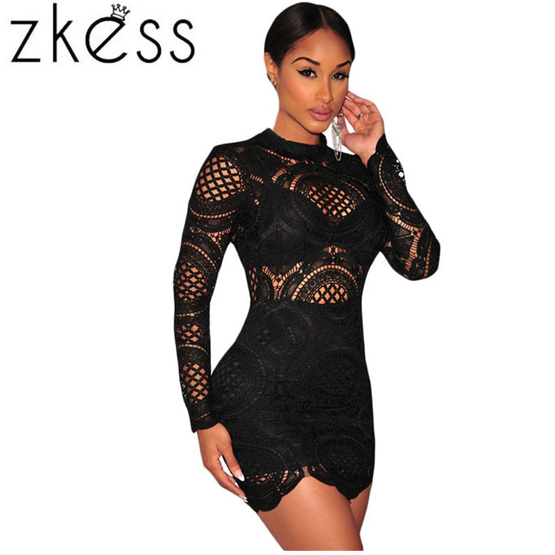 3abeb9052e54f US $34.67 |Zkess Vestido de Renda Lacing Long Sleeve Winter Short dress to  Party Clubwear White Crochet Lace High Neck Mini Dress LC22179-in Dresses  ...