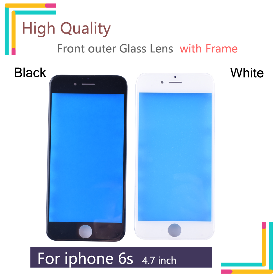 4.7 For iPhone 6S Front Glass Touch Screen LCD Outer Panel Lens with Frame Repair Part For A1633 A1688 A1700 image