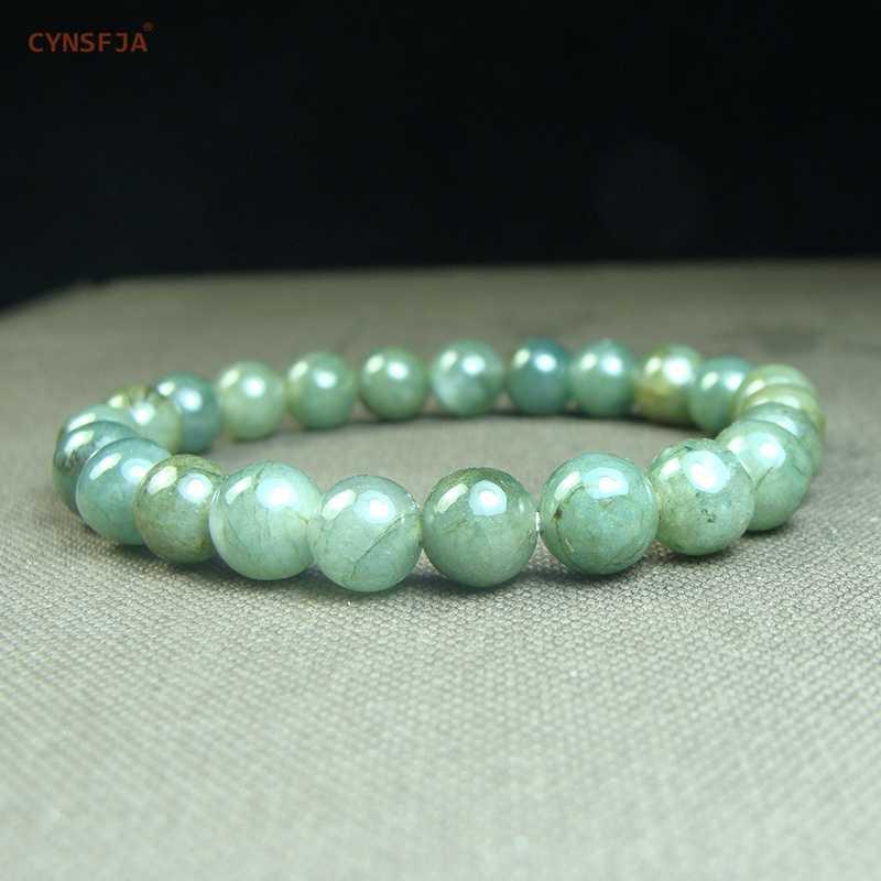 CYNSFJA จริงได้รับการรับรองธรรมชาติเกรด A พม่า Jadeite ผู้หญิง Amulet สร้อยข้อมือหยกสีเขียวคุณภาพสูงเครื่องประดับที่ดีที่สุดของขวัญ