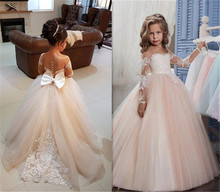 Ball Gown Round Neck Light Champagne Tulle Flower Girl Dress with Appliques Girls First Communion Long Sleeves Custom Made