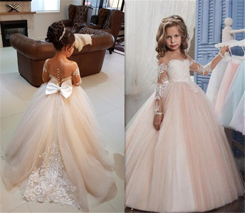 Ball Gown Round Neck Light Champagne Tulle Flower Girl Dress with Appliques Girls First Communion Dress Long Sleeves Custom Made
