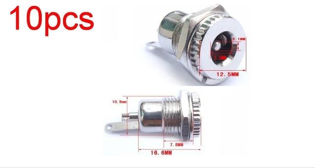 10pcs High quality Copper 5.5mm x 2.1mm Female DC Socket JACK Power Plug Female Panel Mount connector adapter