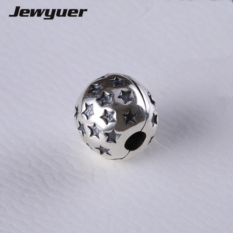 100% 925 Sterling Silber Schmuck Charms Sterne Clip Perlen Fit Charme Armbänder Diy Für Frauen Edlen Schmuck Jewyuer Kt004