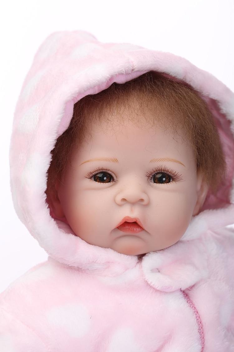 22 אינץ 'סיליקון נולד מחדש בובה בובה רכה ילדה חורף תלבושות בגדים Kawaii Reborn בובות בנות מתנות למכירה