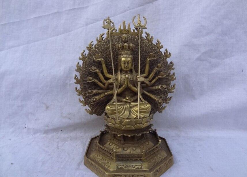 Free Shipping USPS to USA S1354 10 Tibet Pure Brass 1000 Hands Arms Avalokitesvara Kwan Yin Buddha Bowl Statue (B0328)