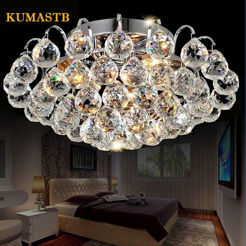 <font><b>LED</b></font> Ceiling Lamp K9 Crystal Light European Round Living Room Ceiling Light Bedroom Balcony Aisle Crystal <font><b>Plafonnier</b></font> <font><b>LED</b></font>