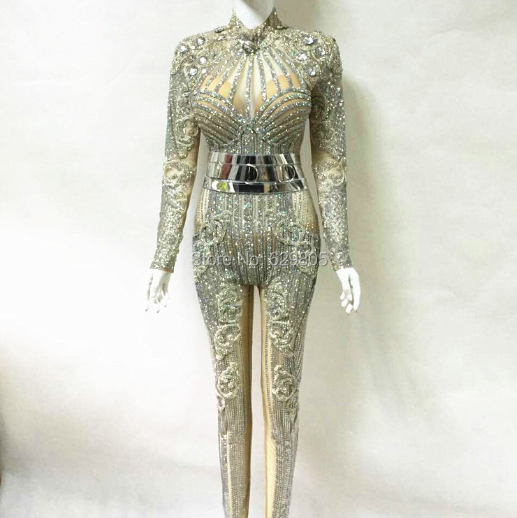 Fashion 2017 Glisten Silver Rhinestones Jumpsuit Flashing Belt Outfit Sexy Party Dress Crystals Costume Body Suits