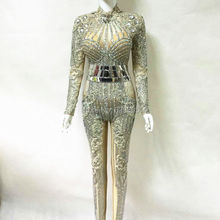 Fashion 2017 Glisten Silver Rhinestones Jumpsuit Flashing Belt Outfit Sexy Party Dress Crystals Costume Body Suits Dance Rompers