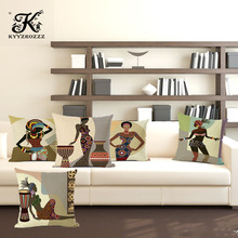 Cartoon Fashion African Woman Lady Cushion Covers Africa Symbols Art Modern Cover Decorative Linen Pillow Case