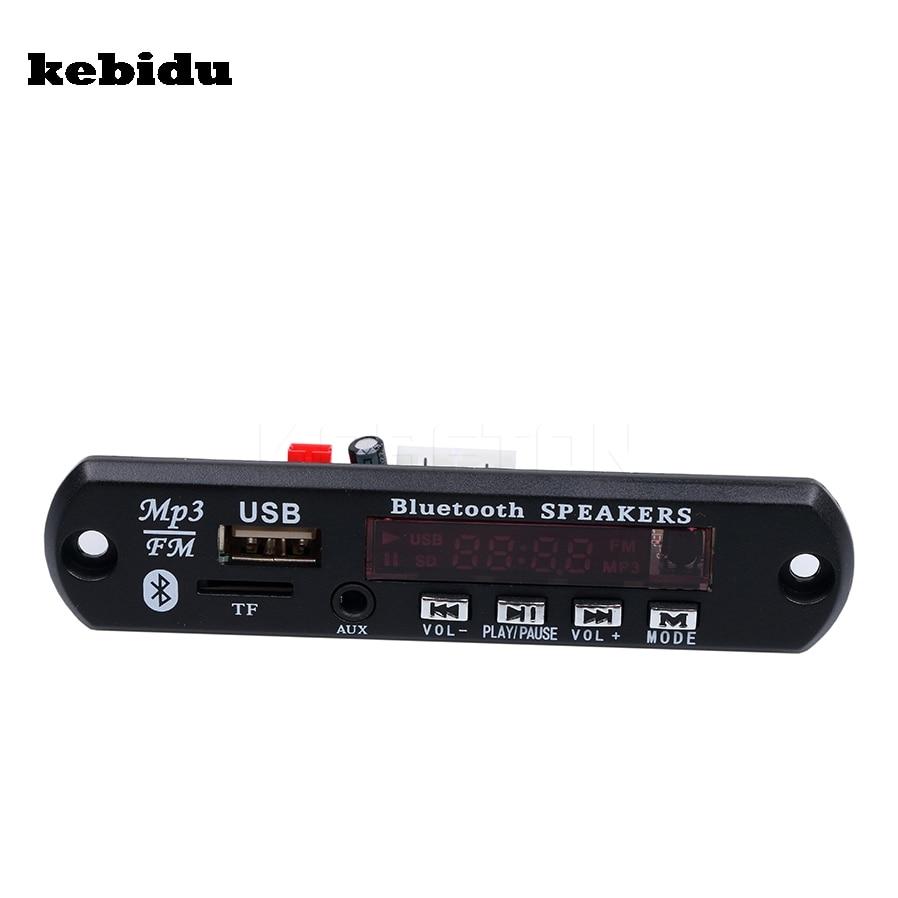 Kebidu Bluetooth Беспроводной 5 В 12 В MP3-плееры WMA декодер доска аудио модуль USB TF Радио красный цифровой светодиодный с пульт дистанционного управления